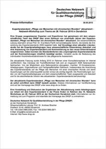 2015 09 30 Pressemitteilung DNQP Expertenstandard chronische Wunden