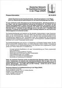 2015 10 20 Pressemitteilung DNQP Expertenstandard Dekubitusprophylaxe